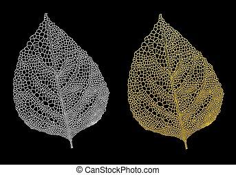 gold vein leaves, vector set