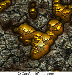 Gold Vein Showing Nuggets in the Stone