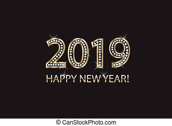 gold, vektor, 2019, hintergrund, jahr, neu , glücklich