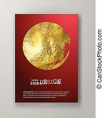 gold, vektor, schablonen, design, rotes