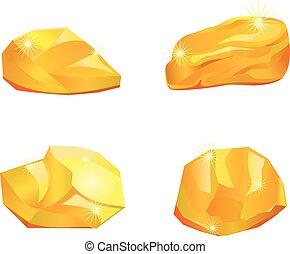 gold, vektor, vier, oder, klumpen, steine