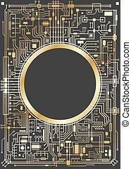 Gold vertical chipset digital background - Gold chipset...