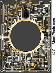 Gold vertical chipset digital background - Gold chipset...