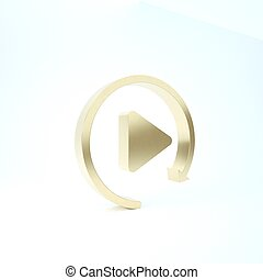 Gold Video play button like simple replay icon isolated on white background. 3d illustration 3D render
