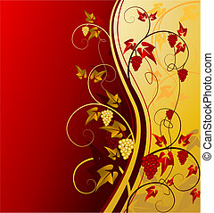 gold vintage background with grape, vector