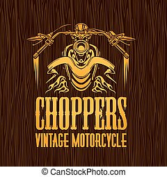 Gold vintage bikers badge on the wooden texture. Vector stock.
