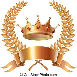 Gold vintage crown and laurel wreath, royal emblem
