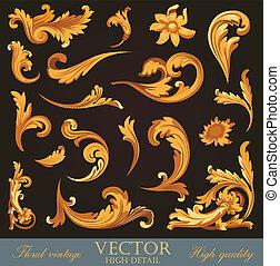 Gold Vintage Elements. High detail Floral ornament. Flourish...
