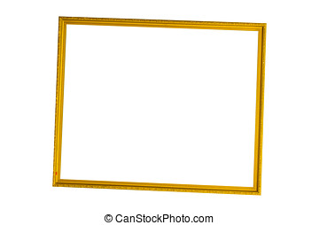 Gold vintage frame on white isolated background with clipping path.