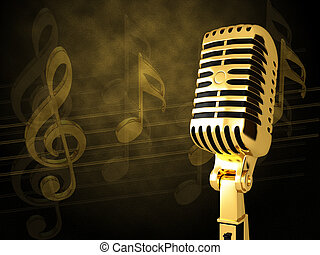 Gold vintage microphone on the background of notes