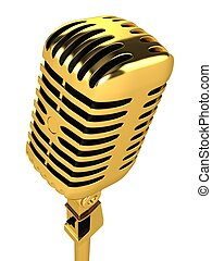 Gold vintage microphone Isolated on a white background