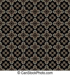 gold vintage ornament on black background - seamless vector