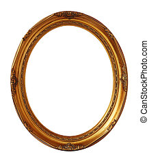 Gold vintage oval photo frame isolated, clipping path.