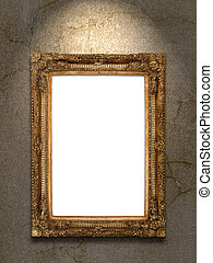 Gold vintage photo frame on grunge wall