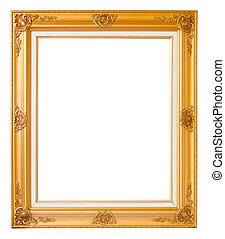 Gold vintage photo frame over white background