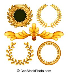 Gold Vintage Royal Elements Vector. Antique Frame, Royal Baroque. Isolated Realistic Illustration