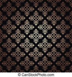 gold vintage vector pattern on black background