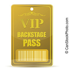 Gold VIP backstage pass with bar code, isolated on white...