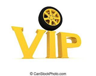 Gold vip with a wheel  on a white background