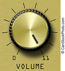 Gold brushed metal volume control. This one goes all the way to 11.