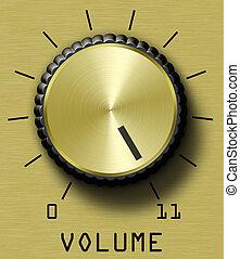 Gold Volume Control - Gold brushed metal volume control....
