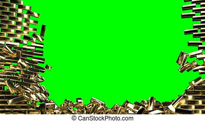Gold wall explosion in realistic style on green screen gold brick 4k