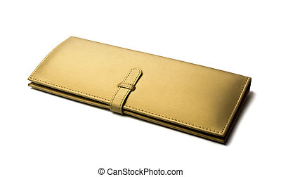 Gold wallet - Elegant ladies golden wallet isolated on white...