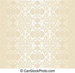 White Gold Vintage Wallpaper Vector Clip Art