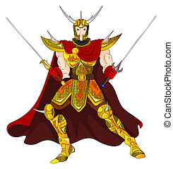 Gold warrior with two-handed swords