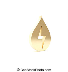 Gold Water energy icon isolated on white background. Ecology concept with water droplet. Alternative energy concept. 3d illustration 3D render