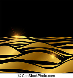 Gold wave background template with shine effect