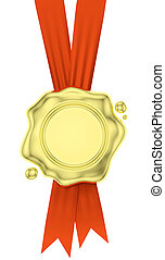 Gold wax seal hang on red ribbons isolated on white