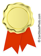 Gold wax seal on red ribbons isolated on white