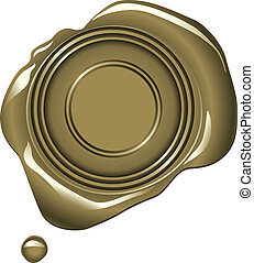 Realistic gold wax seal vector illustration - blank space in center for your text or image.