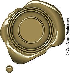 Gold Wax Seal - Realistic gold wax seal vector illustration...