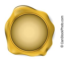 Gold wax seal stamp. vector illustration.