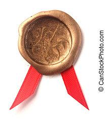 Gold wax seal with ribbon