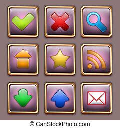 Gold Web icon set