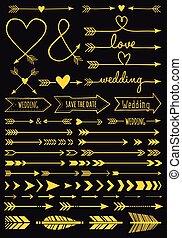 Gold wedding arrows, vector set