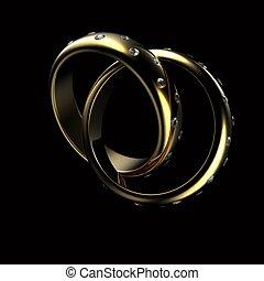 Gold Wedding Ring with diamond on black background. Holiday symbol