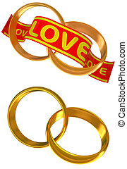 Gold wedding rings a symbol of love in 3d