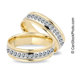Gold wedding rings and diamonds. Vector