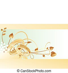 gold wedding rings card design, vector illustration