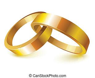 Gold wedding rings over white