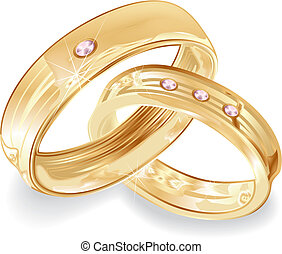 Gold wedding rings - Female and male gold wedding rings,...
