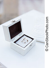 Gold wedding rings in a box