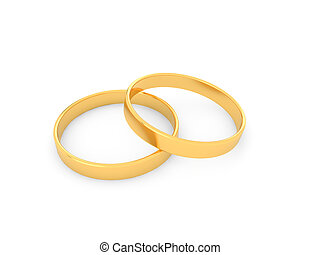 Gold wedding rings on a white background.
