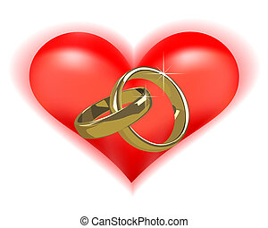 Gold Wedding Rings On A Black Background And Red Heart Clipart