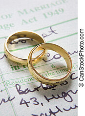 Gold Wedding Rings On Marriage Certificate - Pair Of Gold...