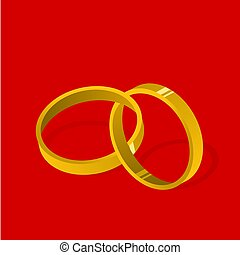 Gold Wedding Rings On Red Background Illustration Vector